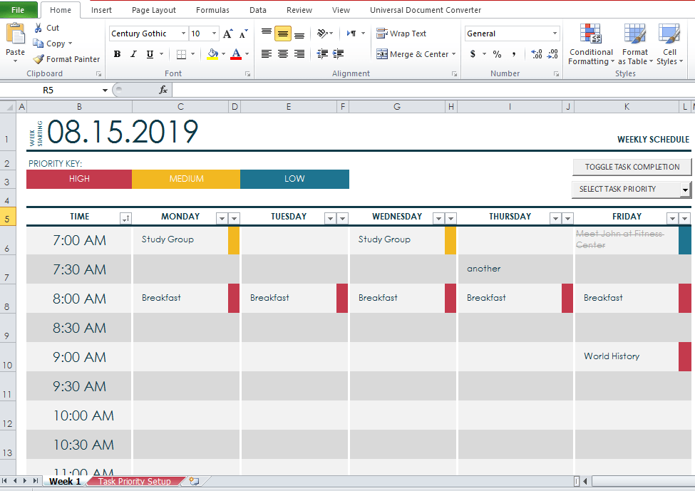 Free College Class Schedule Maker Template [Word+Excel+PDF]