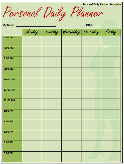 Printable Daily Planner Template [Excel, Word, PDF]