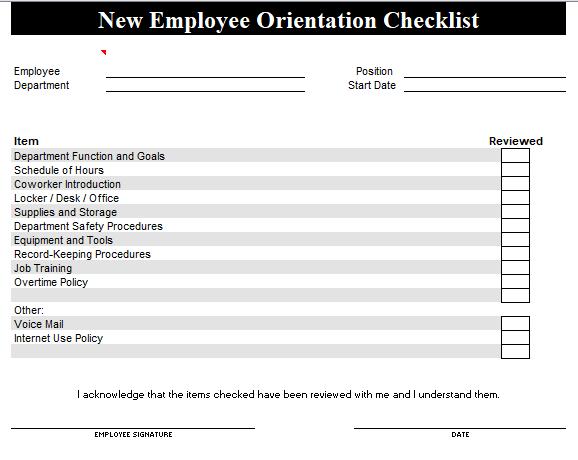 Free New Employee Orientation Checklist Templates [Word]