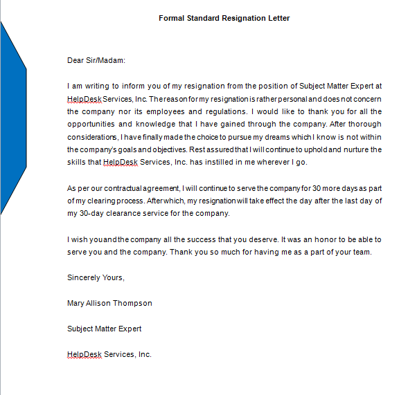 25+ Letter of Resignation Template word Free Download