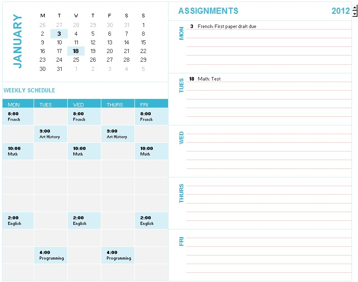 college class time table templates