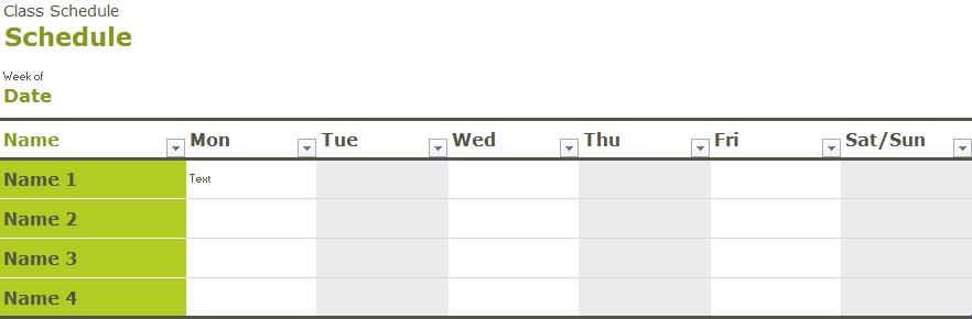 college class schedule maker template