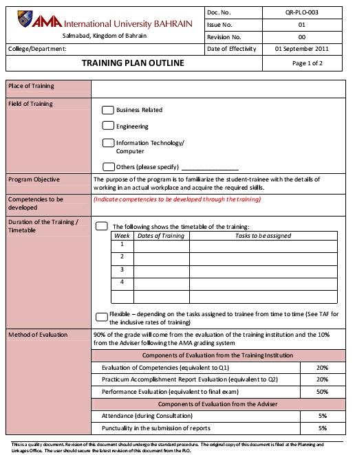 employee training plan sample