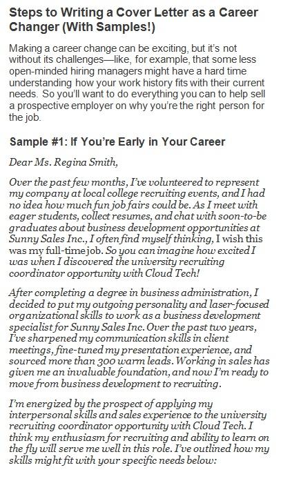 career change letter