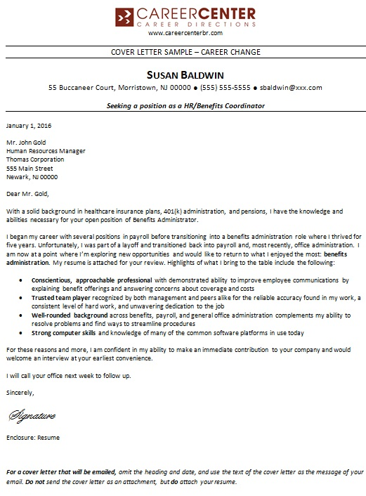 sample cover letter for career change position