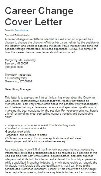 career transition cover letter