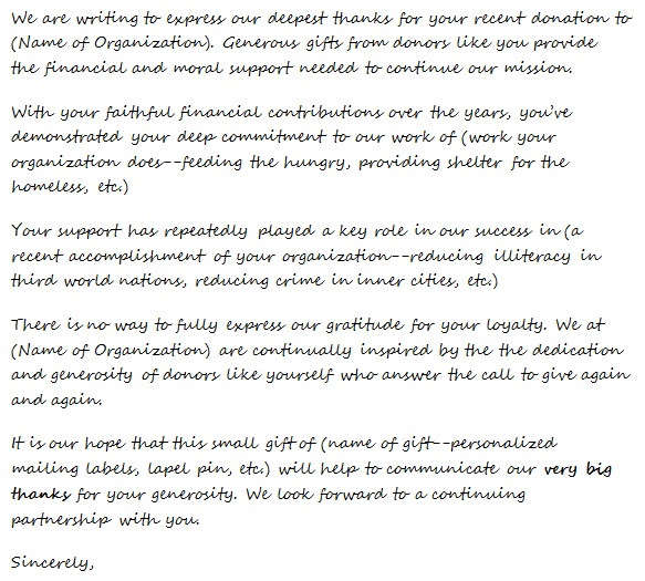 thank you letter for generosity