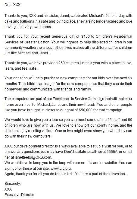 sample thank you letter for donation to school