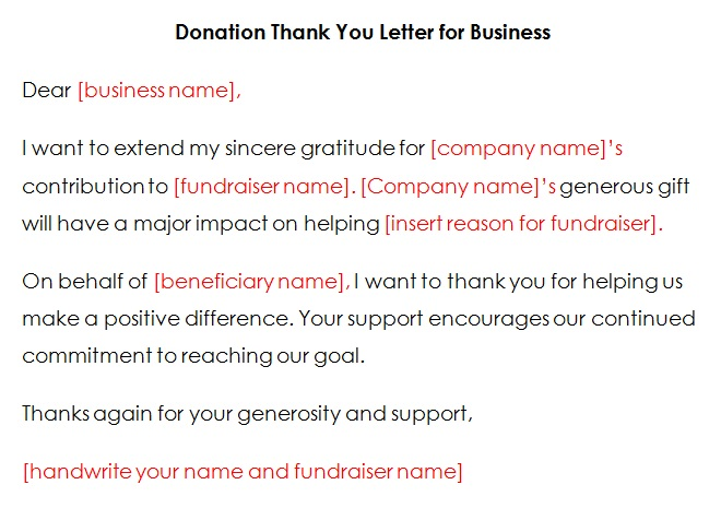 free thank you letter samples for donations