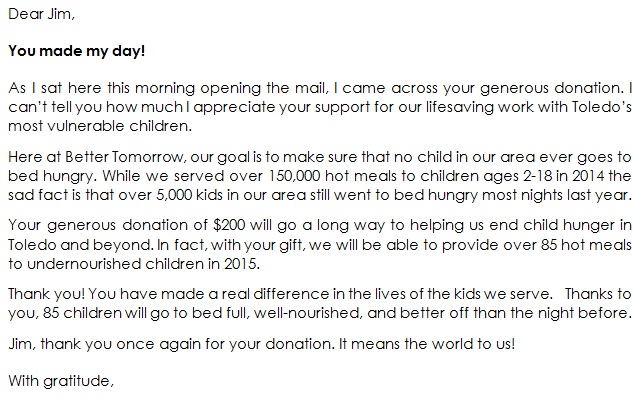 thank you for your donation letter