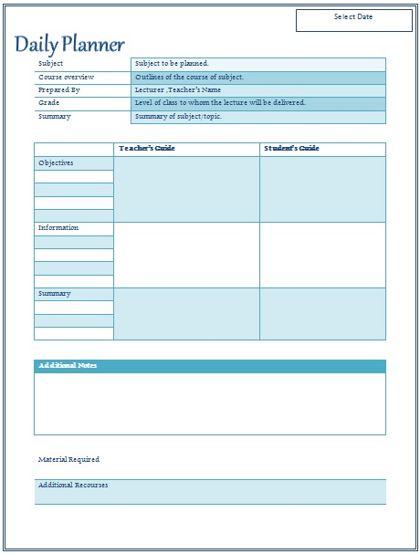 lesson plan template word
