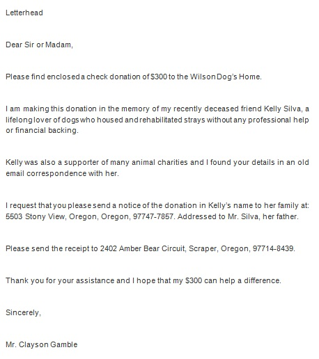 fundraising template letter