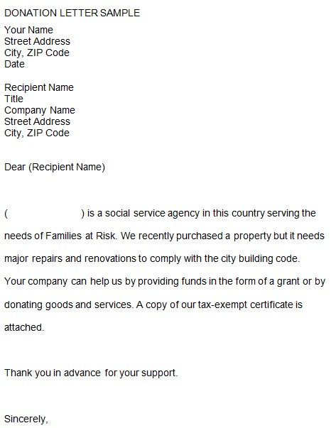 donation request letter template for nonprofit
