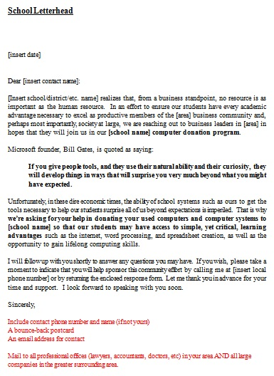 donation request letter template