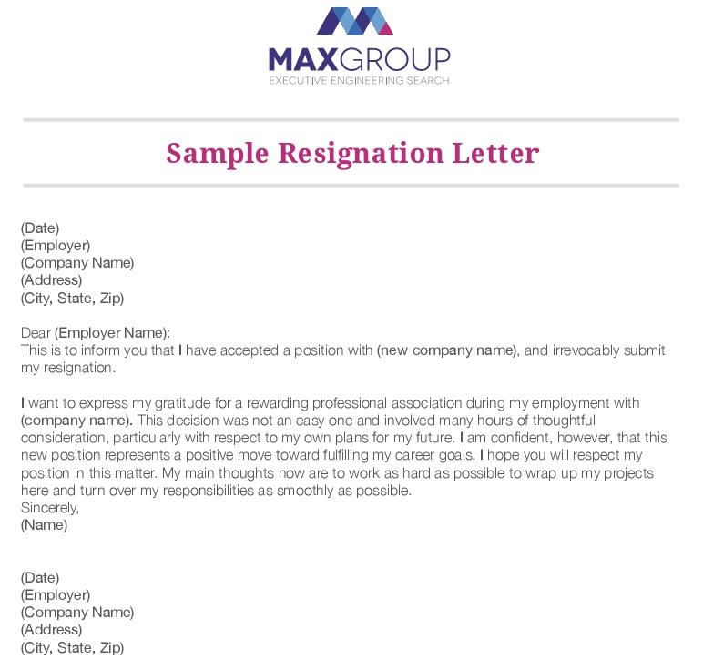 sample professional resignation letter