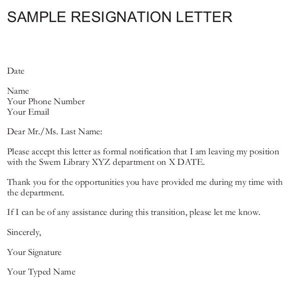 resignation mail format