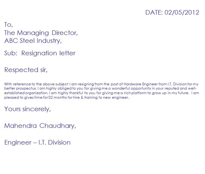 resignation format