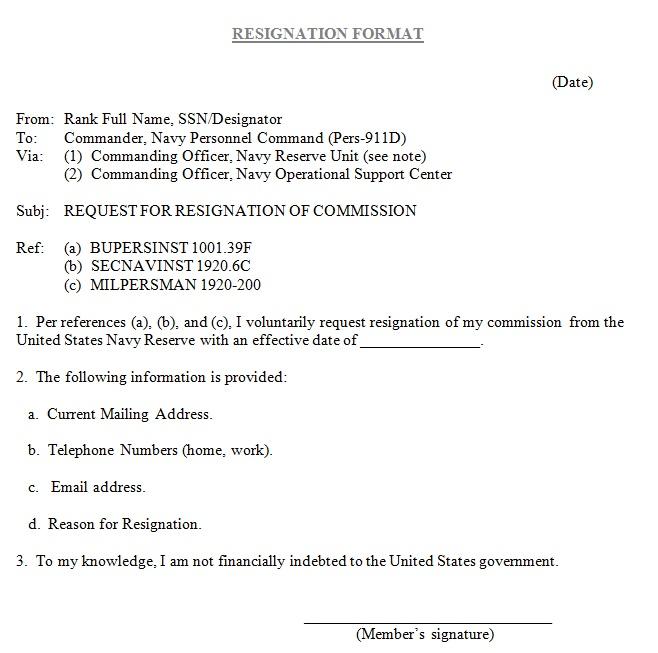 short resignation letter