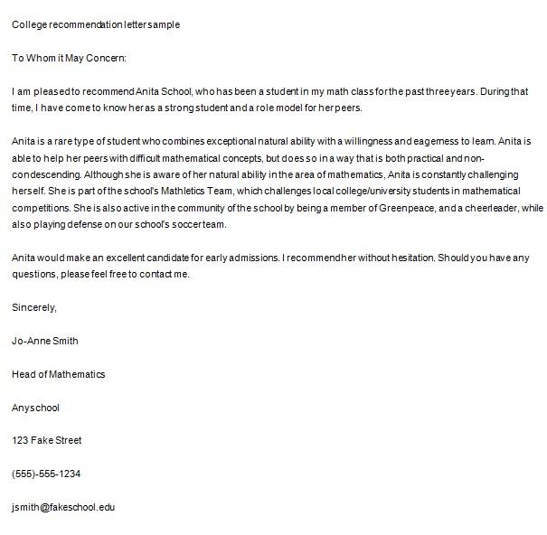 character letter sample