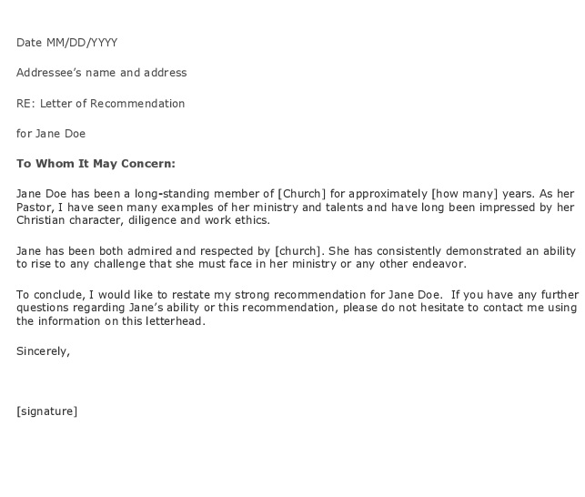 format for letter of recommendation