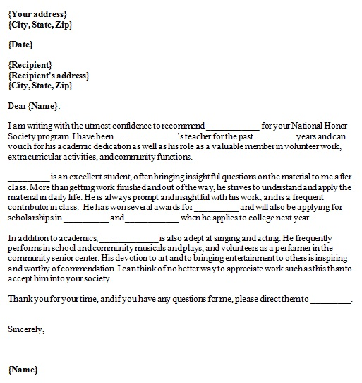 recommendation letter examples