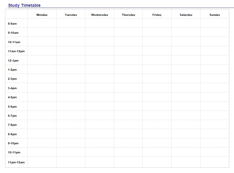 students study timetable templates