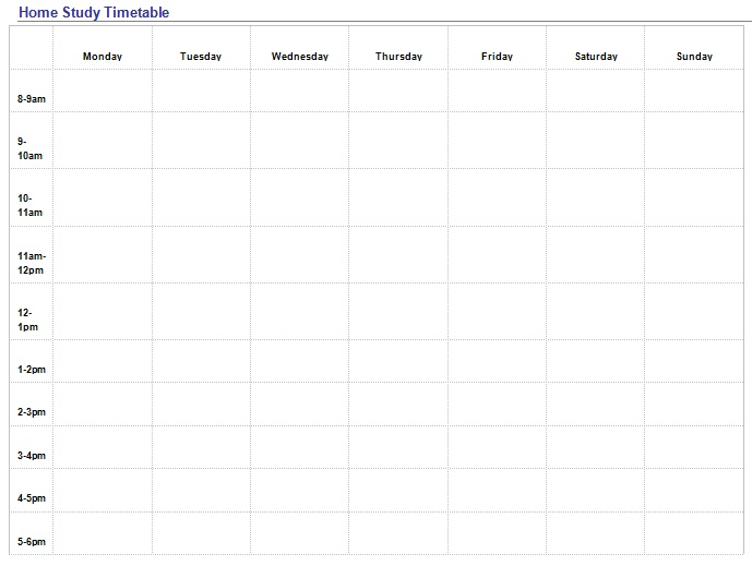 daily study timetable for students