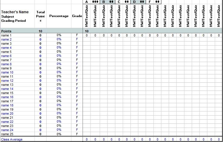 printable gradebook template editable