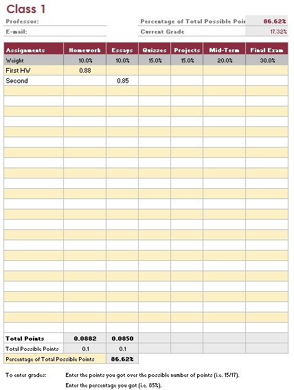 teacher grade book printable template