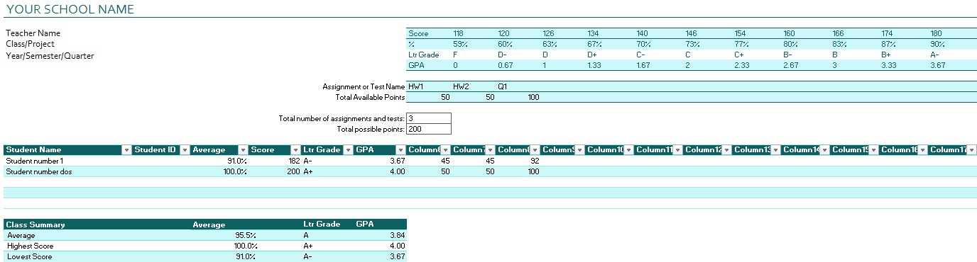 gradebook template for one student