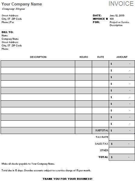 cash sales invoice template
