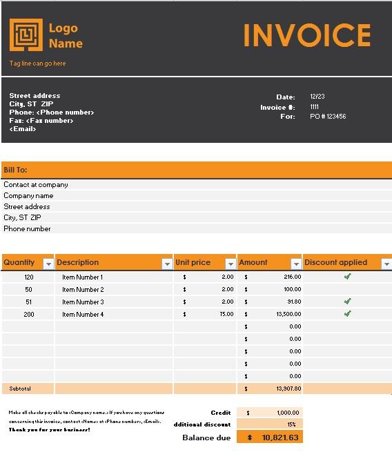 sales tax invoice format