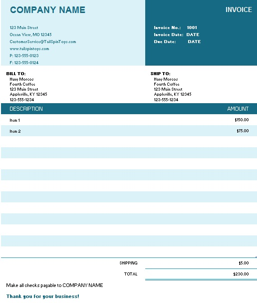busy sales invoice format download