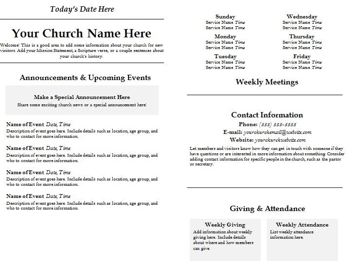 church program template word