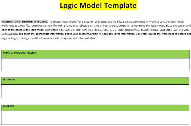Logic Model Template 19