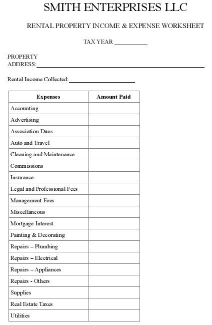 landlord costs spreadsheet