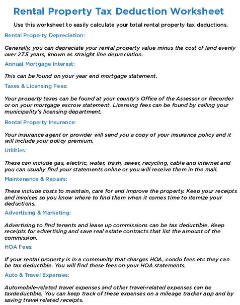 rental income expense worksheet
