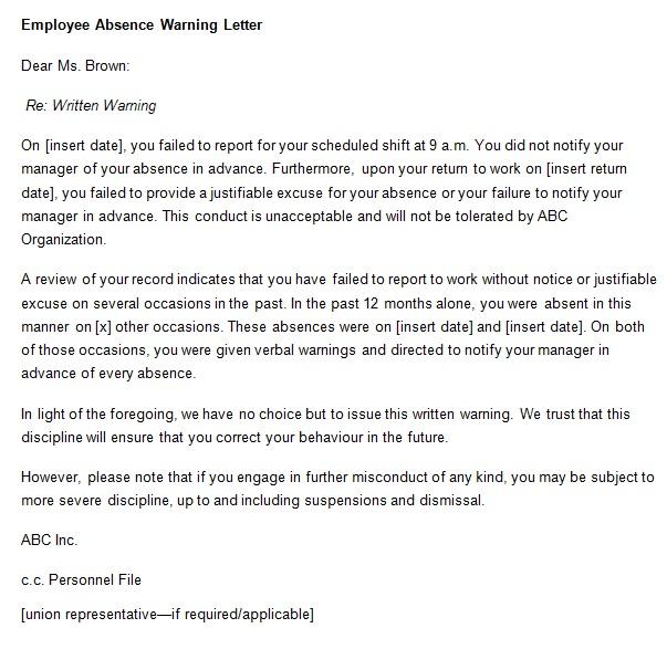 employee absence warning letter