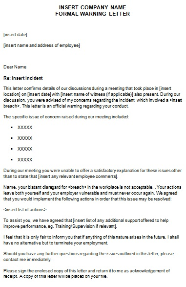 formal warning letter