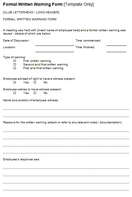 formal written warning form