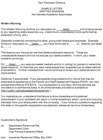 sample warning letter
