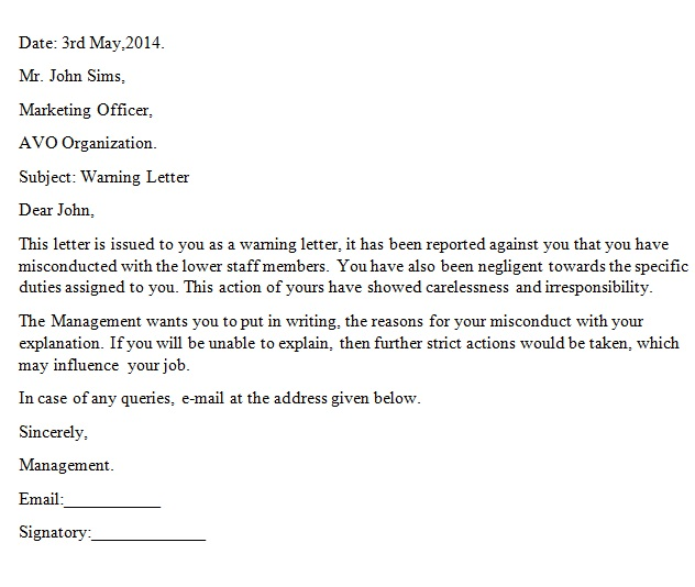 Professional Warning Letter to Employee Templates [Word]