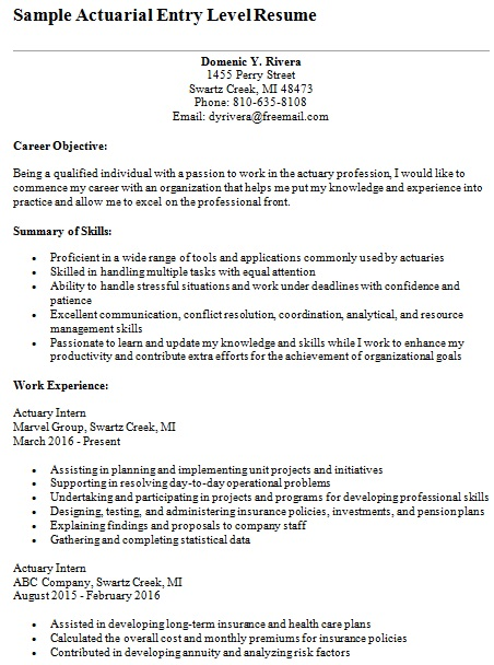actuarial entry level resume