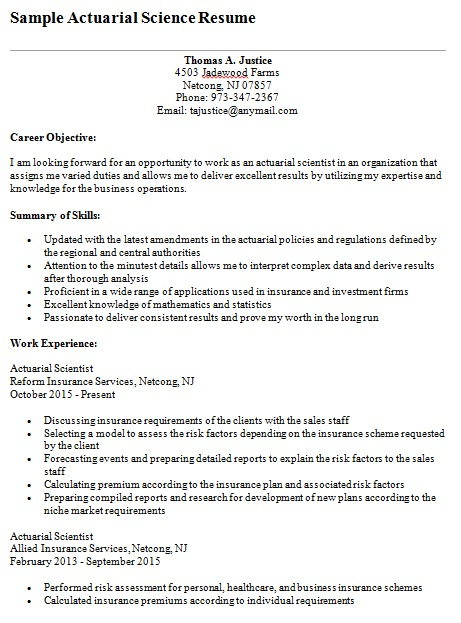 actuarial science resume