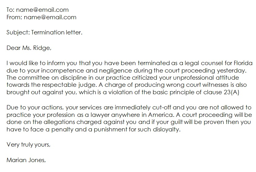 attorney termination letter email format