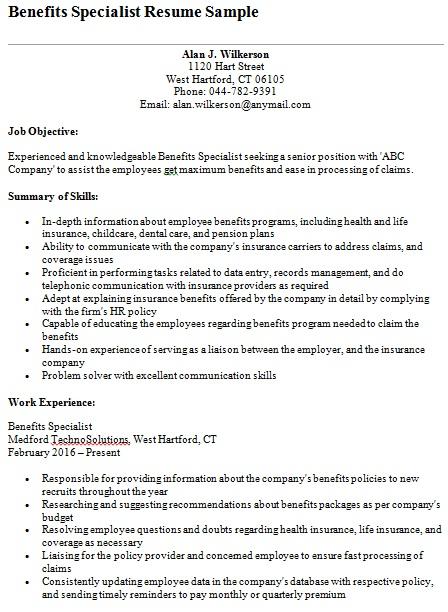 benefits specialist resume