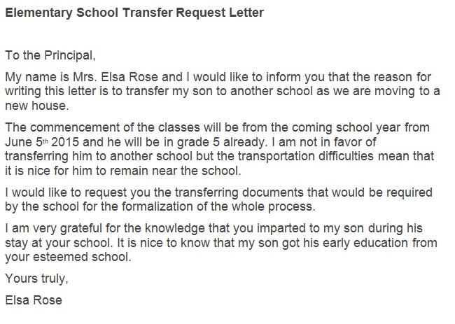 elementary school transfer request letter