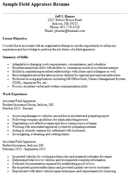 field appraiser resume