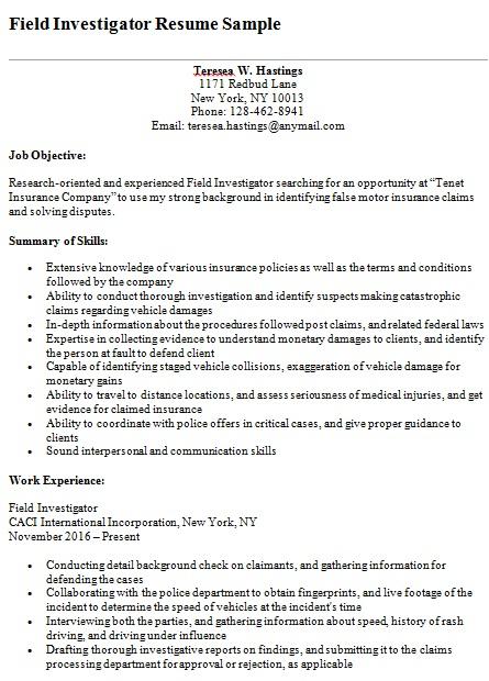field investigator resume
