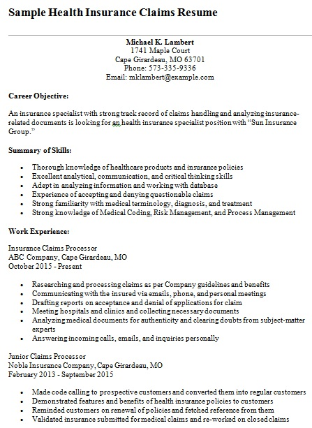 health insurance claims resume